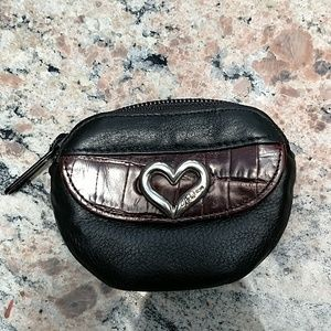 Brighton Coin Purse / Bag, Black and Brown Leather
